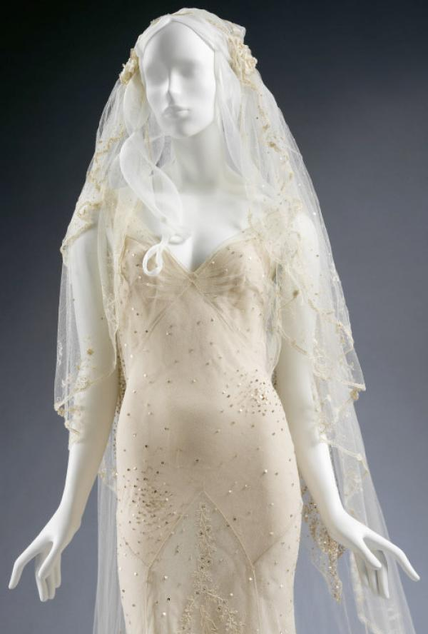 Delicately embroidered Wedding Dress and veil by John Galliano, worn by Kate Moss, 2011. © Victoria and Albert Museum, London