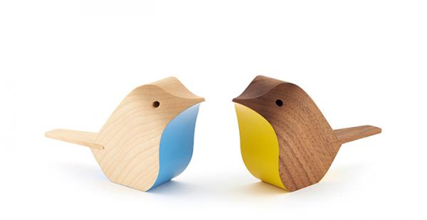 Two wooden birds