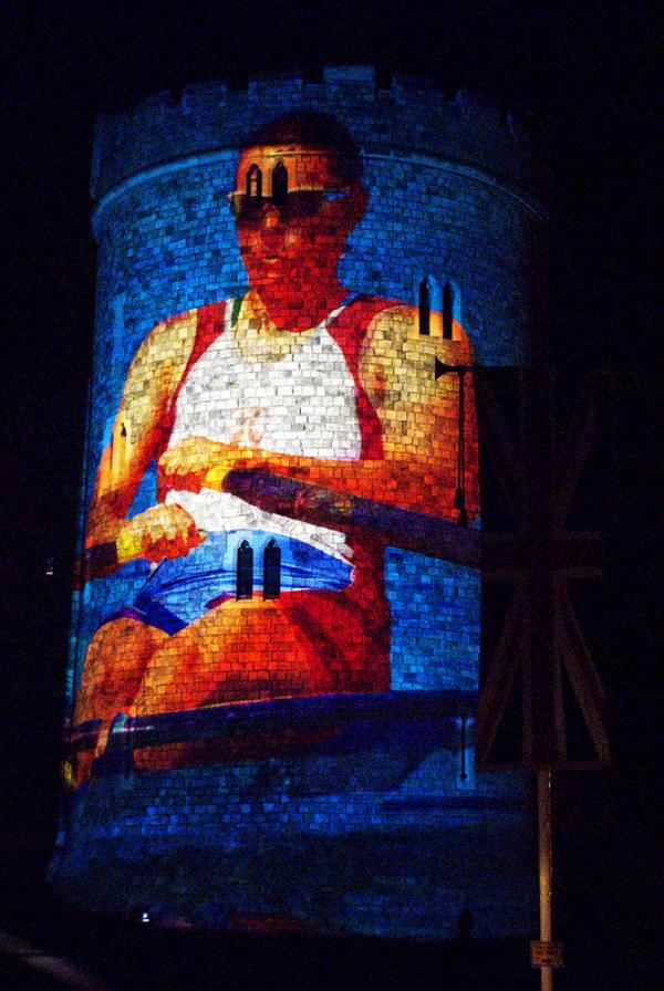 projection of rower on Windsor castle