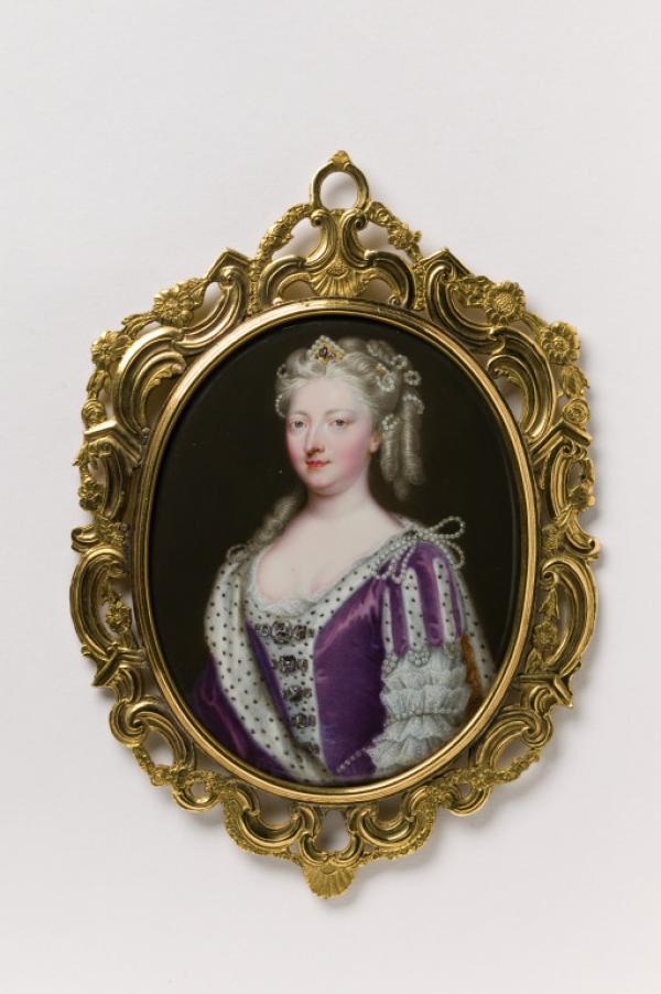 Enamel miniature on copper of Queen Caroline of Ansbach, in a pierced gold and ivory frame,  England, ca.1732, Friedrich Christian Zincke.