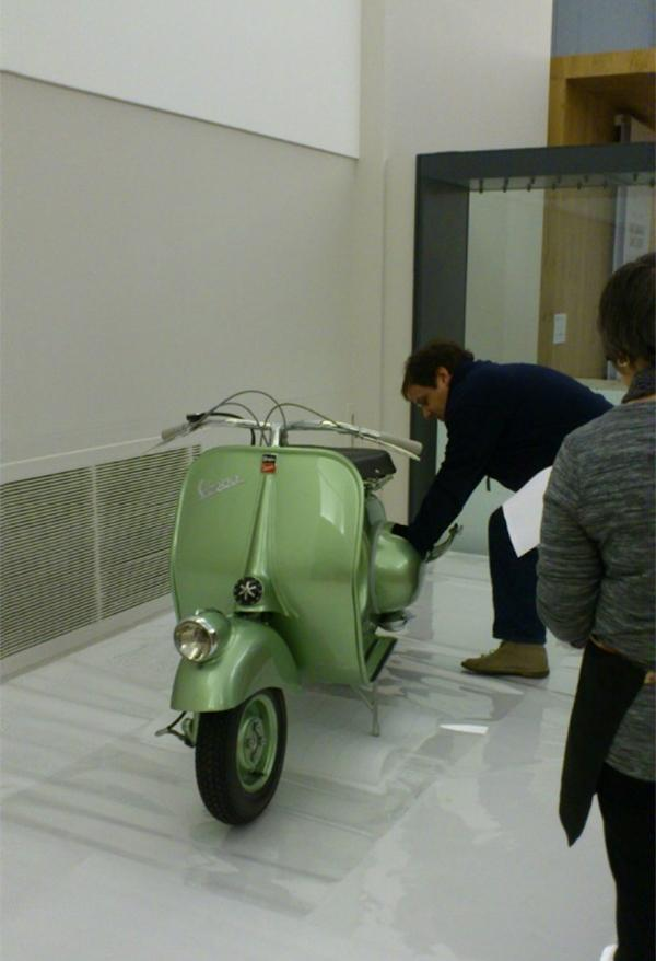 Placing the Vespa within the exhibition © Matthew Philips, Vespa 125, 1949 Model; Photo © Victoria and Albert Museum, London