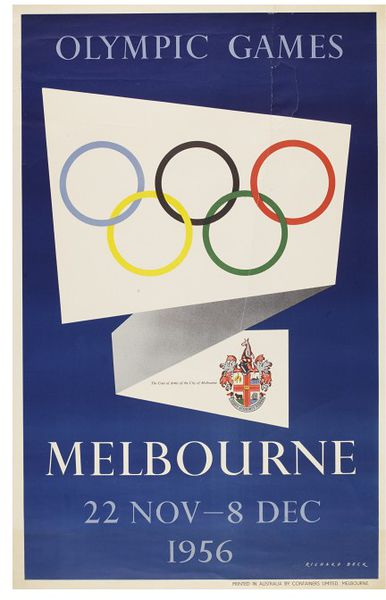 Poster showing an invitation with Melbourne coat of arms