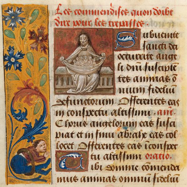 God the Father, holding souls, in Book of Hours, Rome, about 1480-1500. Museum no. MSL/1902/1669. © Victoria & Albert Museum