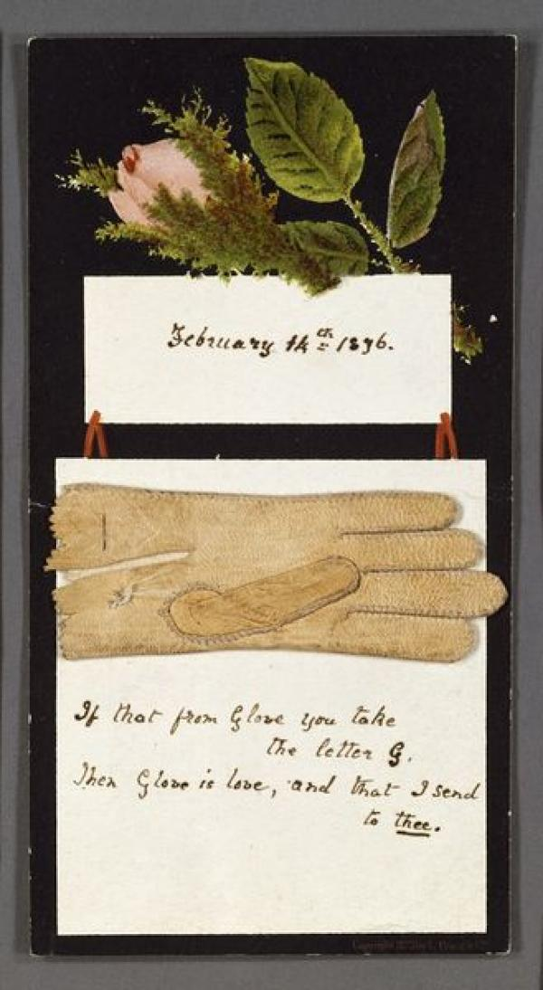 Valentine with a glove and pressed flower attached, England, ca. 1836. Museum no. E.2190-1953. © Victoria and Albert Museum, London