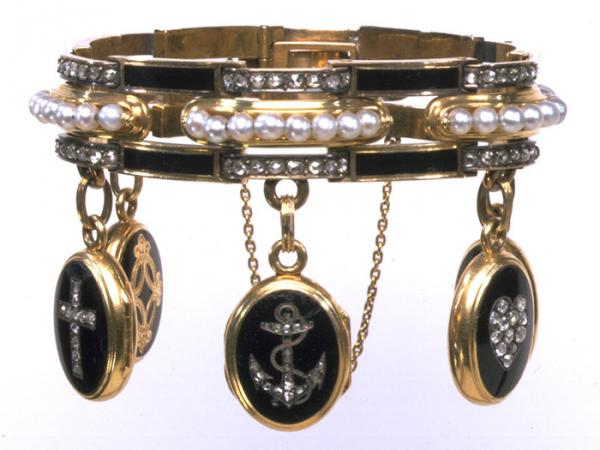 Mourning bracelet, gold, enamelled in black, and set with brilliant-cut diamonds and pearls, probably French, about 1860