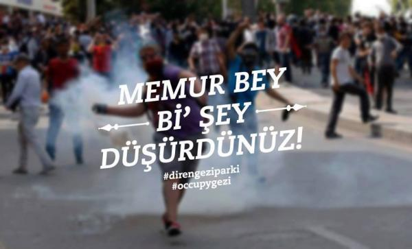 Digital poster depicting a protester throwing a tear gas canister