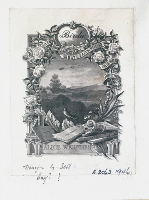 Bookplate of Lady Wernher, W. Phillips Barrett, 1900. Museum number E.2063-1946. © Victoria and Albert Museum, London