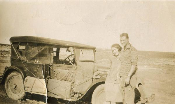 Photograph of Ian's parents on the way to Namaqualand, 1920's. © Ian Rakoff
