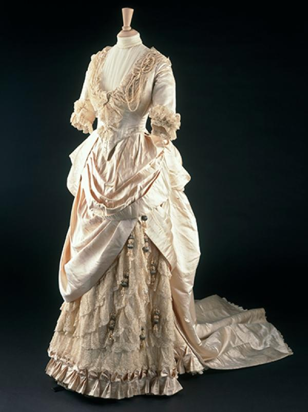 The wedding dress by Gladman & Womack, 1885, made for the wedding of May Primrose, arrived in one of the crates.