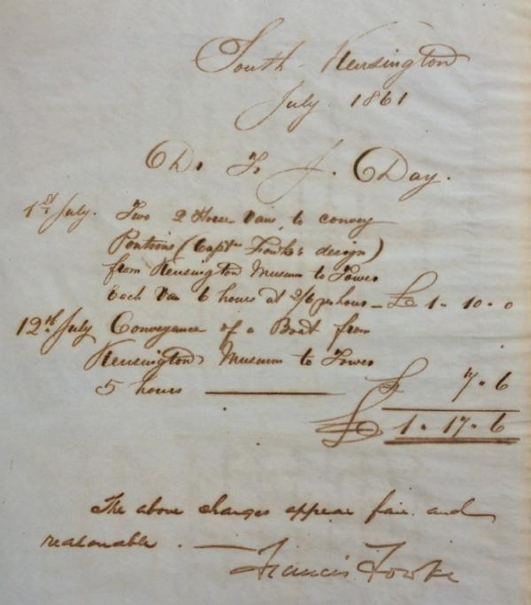 Fowke's bill for the transport of his pontoons to the Tower