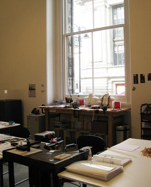 Dorothy Hogg's studio & bench