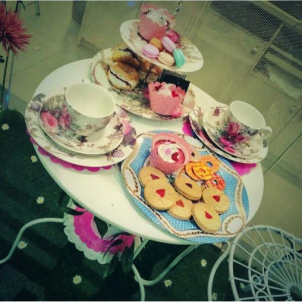 A decorative tea party display