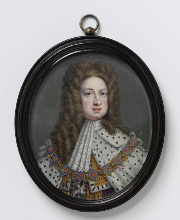 Portrait miniature of King George I by Bernard Lens III, 1718. Watercolour on ivory. Museum number P.64-1987