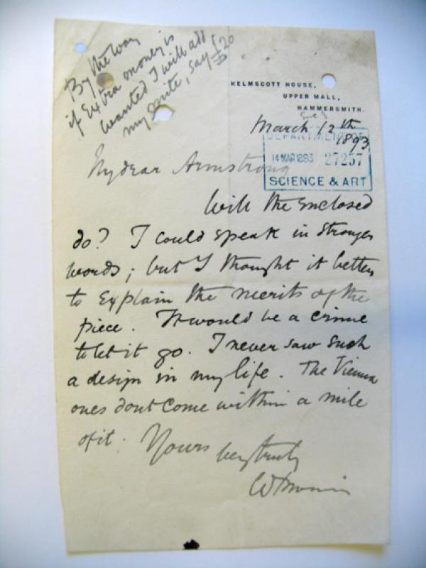 Vincent Robinson & Co Ltd, letter from William Morris to Thomas Armstrong, 1893