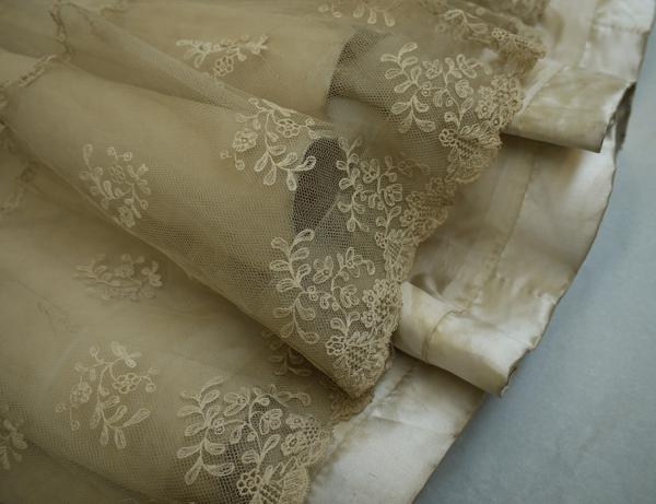 Image of the dirty, unwashed hem of the wedding dress