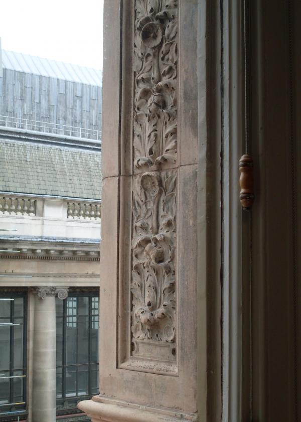 The view of the terracotta mouldings flanking a V&A office window