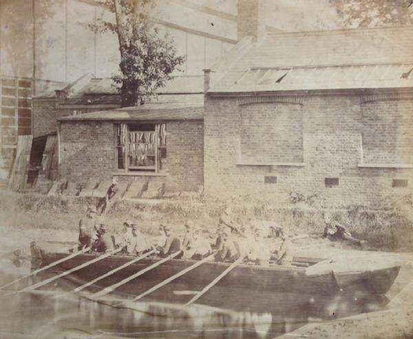 Sappers testing a bateau in the pool in 1860