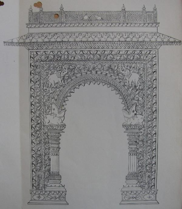 """Rough sketch"" of the Gwalior Gateway"