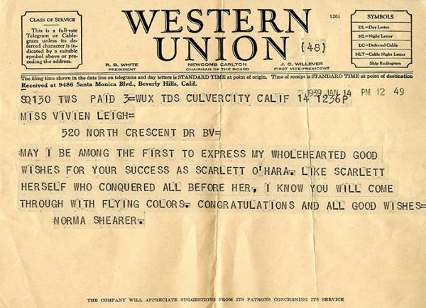 Telegram from Norma Shearer to Vivien Leigh, 1939. © Victoria and Albert Museum, London.