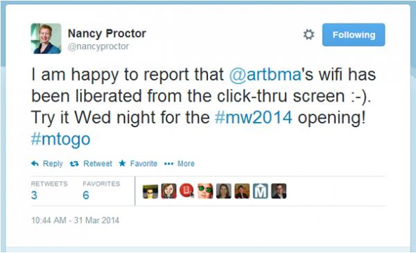 Tweet by Nancy Proctor celebrating the loss of a wi-fi screen