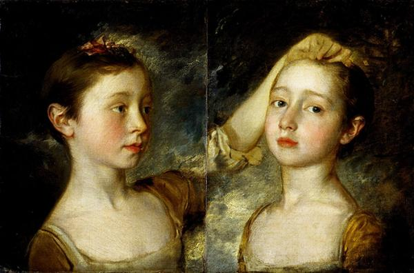 The Painter's Two Daughters, oil painting, by Thomas Gainsborough, about 1758. Museum no. F.9. © Victoria and Albert Museum, Lon