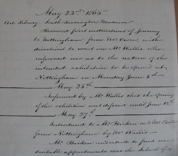 Extract from Diary for 23 May 1865.