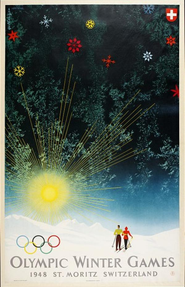 Poster showing skiers and sunrise