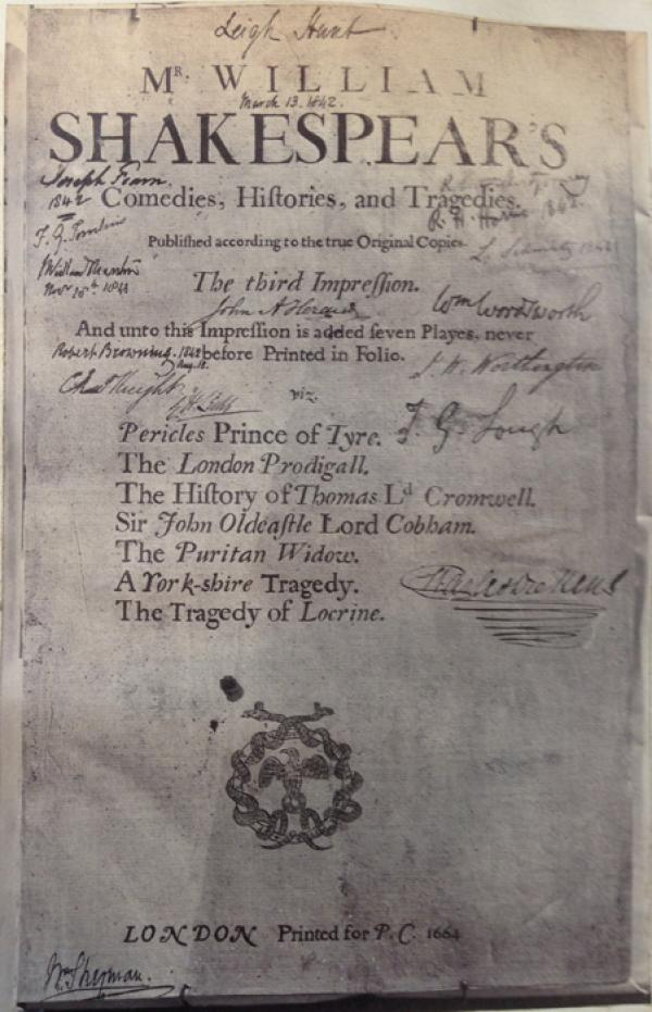Title page of John Jones's copy of Third Folio