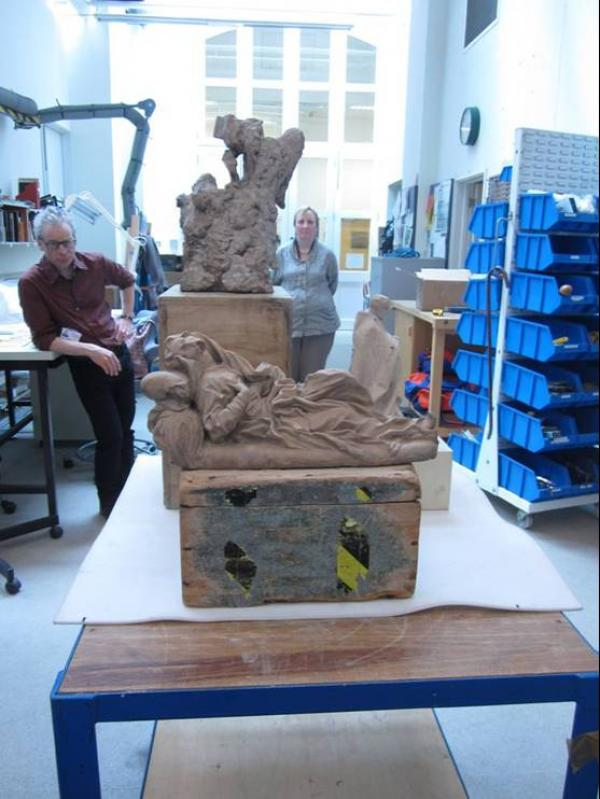 'Mini-mock-up' in the Sculpture Conservation studio