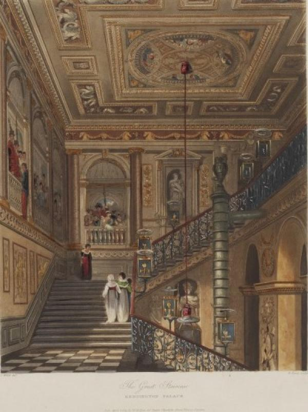 Coloured print from Pyne's Royal Residences , showing a view of the Great Staircase, Kensington  Palace, designed by William Kent.