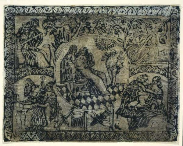 Lining Paper representing the Five Senses; woodcut, ink on paper; Anonymous; English; circa 1688.