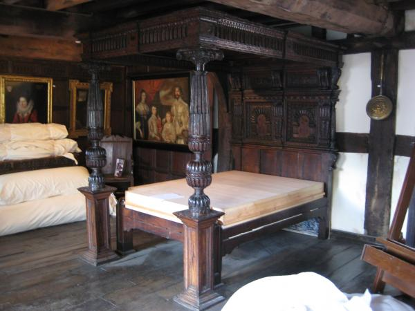 Image of The Corbet Bed (museum no. 316-1867) in situ in Rowley's House, Shrewsbury