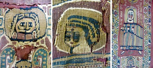 Egyptian tunic, museum number 291-1891, three tapestry details