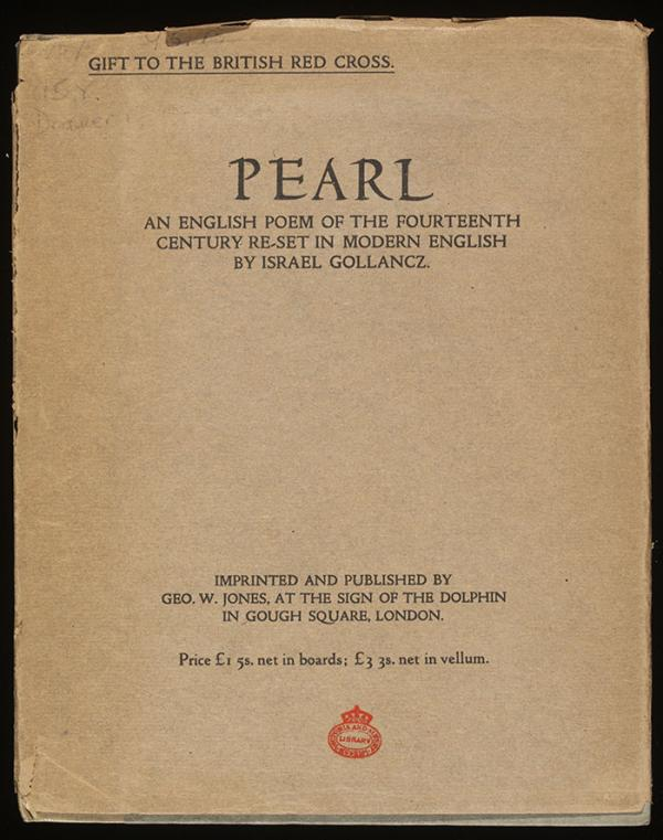 Pearl: an English poem of the fourteenth century reset in modern English, by Israel Gollancz. London, Dolphin Press, 1918. © Victoria & Albert Museum