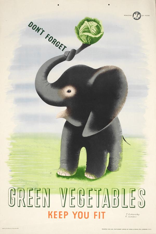 'Don't forget green vegetables keep you fit', poster by Tom Eckersley and Eric Lombers for the Ministry of Food, United Kingdom, 1940s or 1950s, colour lithograph. Museum no. E.876-2004, © Victoria and Albert Museum, London