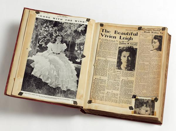 Volume of press cuttings about Vivien Leigh's role in Gone With The Wind, 1940. © Victoria and Albert Museum, London