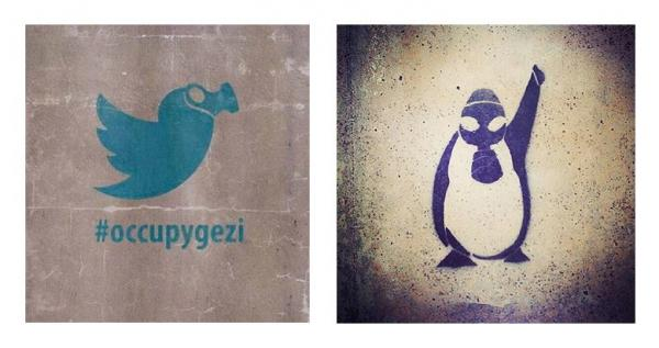 Two street stencils showing the Twitter bird wearing a gas mask and a penguin wearing a gas mask