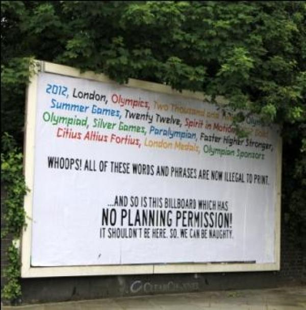 Billbord pasted over with artwork