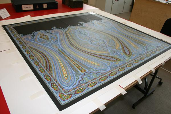The Ratti pitch sheet after flattening, in the process of being mounted © Photo: Victoria and Albert Museum