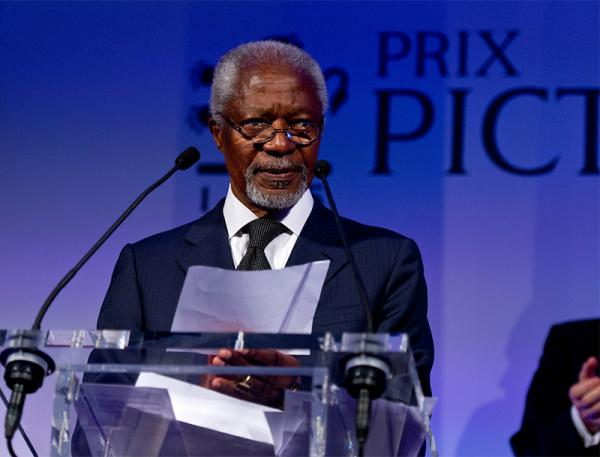 Kofi Annan speaking at the Prix Pictet awards ceremony. © Ben Pruchnie Photography 2012