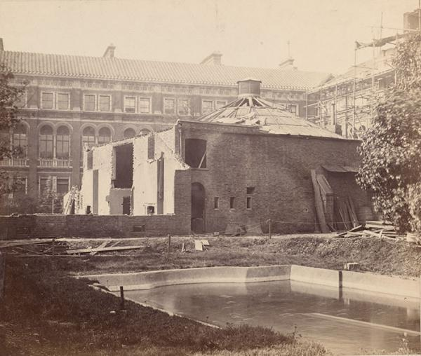 The South Kensington Museum's first lecture theatre in the Garden in 1865