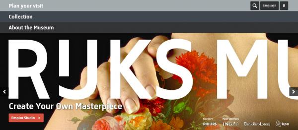 Rijksmuseum website home page
