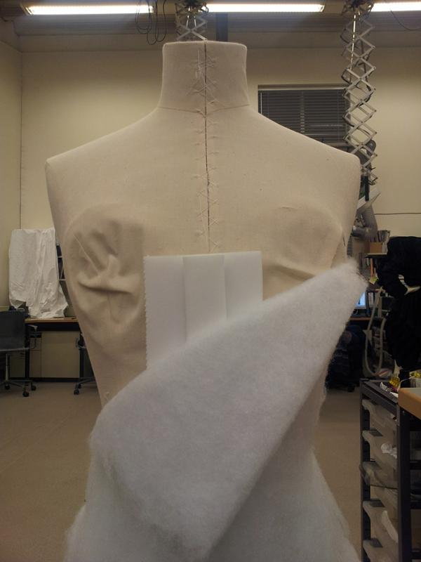 Padding up the figure to an 18th century shape.