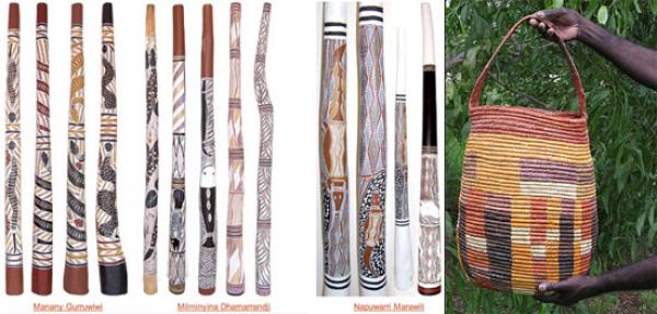 Yidaki or didjeridu. Image courtesy the 'Artistic Yidaki Gallery' from the Buku- Larrngay Mulka Centre website; Right: Handwoven Nyalka of pandanus grass by Caroline Gulumindiwuy, Northeastern Arnhem Land