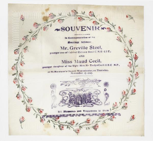 Souvenir paper napkin from the wedding of Maud Cecil and Greville Steel, 1927