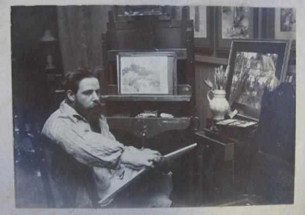 Nelson Dawson painting in his studio, 1893