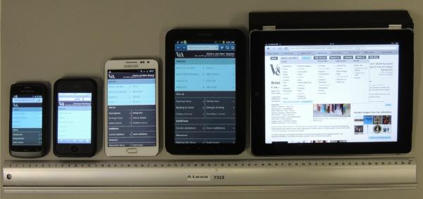 Various devices showing V&A responsive 2 column display in navigation mode