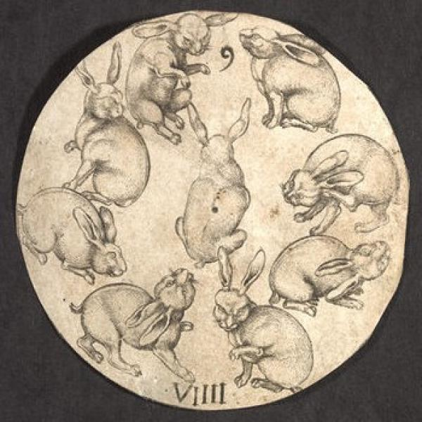 The Nine of Hares, Master P W of Cologne. Museum no.E.14-1923. © Victoria and Albert Museum, London.