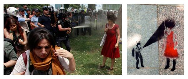 Photo of a girl in red being sprayed with pepper spray and a street stencil of the same image