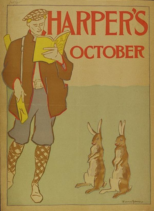 Depicting a hunter reading leisurely. Two rabbits stand on hind legs nearby.